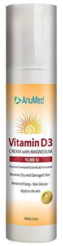AnuMed Vitamin D3 Cream with Magnesium 10,000 IU | Healthy Skin Care & Face Cream | Maximum Calcium Absorption | Non-Greasy Moisturizer for Dry Skin - 3 Ounces