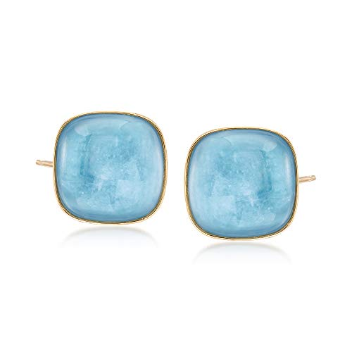 Ross-Simons 30.00 ct. t.w. Square Milky Aquamarine Earrings in 14kt Yellow Gold (Aquamarine Square Earring)