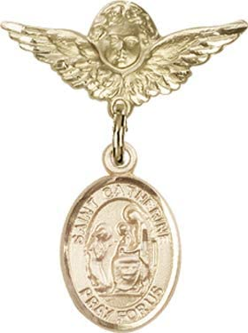 Christening /& Baptism Keepsake Catherine of Siena Charm and Angel w//Wings Badge Pin//Fire Prevention 14kt Gold Filled Baby Badge with St