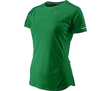 Nike Ladies Miler Short Sleeve Classic Green Running Top 405254 396   Amazon.co.uk  Sports   Outdoors d5be5ddf1