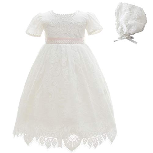 Moon Kitty Baby Girl Special Occasion Dress 2PCS Christening Baptism Gowns Girls Lace Long Dress Ivory ()