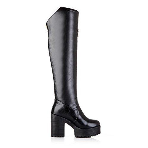 AllhqFashion Damen Hoch-Spitze Reißverschluss Hoher Absatz Stiefel mit Metallisch, Weiß, 38