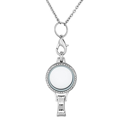 ShinyJewelry Id Badge Holder Necklace Living Memory Floating locket Lanyard Necklace For Floating Charms (Badge Pendant)