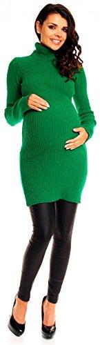 Zeta Ville Premamá - Vestido de punto de canalé cuello alto - para mujer 417c Verde