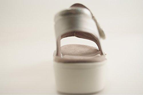 Jenny Women's Korsika-Sport Platform Sandals, Grey, 4 UK Grey (Silver)