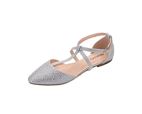 Mila Lady (LAUREL) New Fashion Womens Pointed Toe Ankle Wrap T-strap D'orsay Flats,SILVER7.5