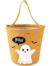 Halloween Trick or Treat Bags Halloween Candy Buckets Tote Bags Orange Black Ghost Halloween Party Favor Reusable Bags
