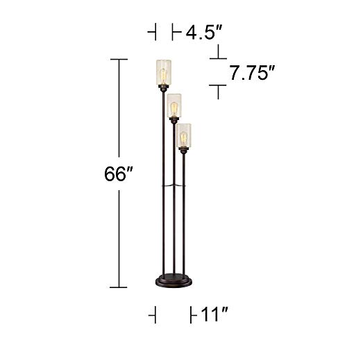 Libby Vintage Floor Lamp 3-Light Oiled Bronze Amber Seedy Glass Dimmable LED Edison Bulb for Living Room Bedroom - Franklin Iron Works by Franklin Iron Works (Image #6)
