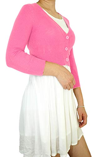 Vintage Cropped Cardigan for Women 3/4 Sleeve Button Down V-Neck Soft Knit Regular & Plus Size
