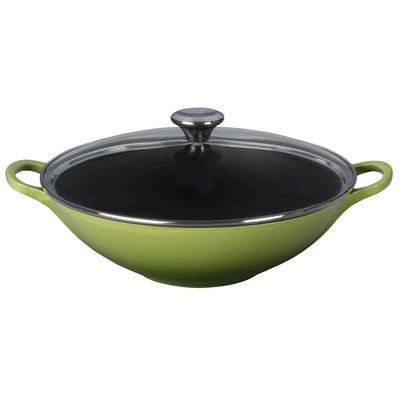 Le Creuset of America Enameled Cast Iron Signature Wok, 5-Quart, Palm