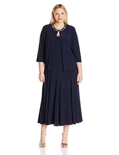 Alex Evenings Women's Plus Size T-Length Jacket Dress with Sequin Beaded Trim, Navy, 18W