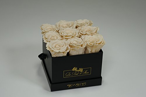Cream Preserved Roses in Elegant Black Square Boxes by DE (Image #2)