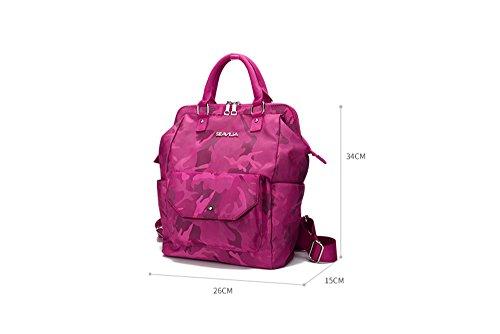 Bolso de hombro de viaje hembra de gran capacidad de la versión coreana de la mochila Oxford lona de tela mommy ( Color : Azul , Tamaño : 28*16*38cm ) Azul