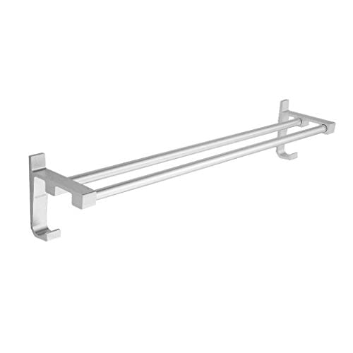 Wangel Nail-free Design Double Aluminum Bathroom Towel Bar Silver durable modeling