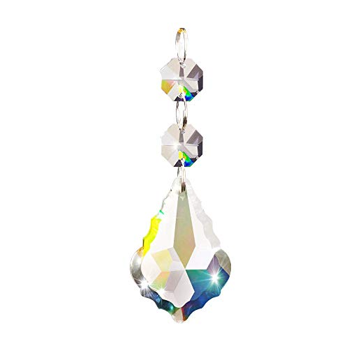 colinkind Crystal Chandeliers, Clear Pendant teardrop Prisms Curtain Lamp Chain Drops Hanging Glass Balls Parts Suncatcher Carland Beads for Home/House Indoor Decor, Pack of 20 (Christmas Tree 40mm)