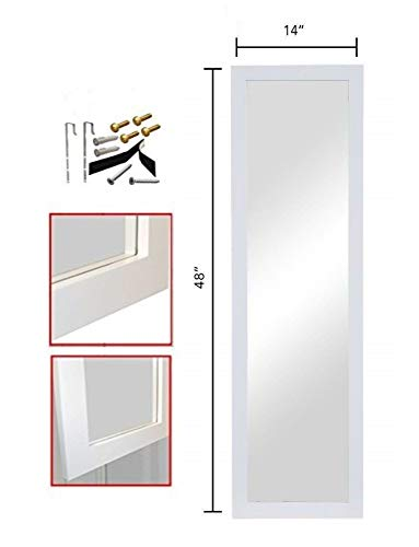"ProDecor Quality Furniture Wood Frame Full Length Wall Mirror, Over The Door Mirror Wall Rectangular - Size 14"" x 48"" - with Installation Hardware and Instructions Included - White,"