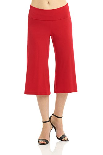 Rekucci Women's Ease Into Comfort Knit Culotte Capri Pant with Fold Over Waistband (X-Small,Red) ()