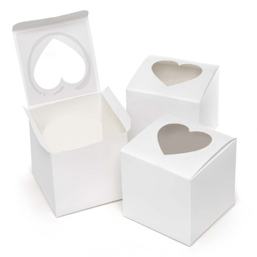 Hortense B. Hewitt Wedding Accessories, Cupcake Favor Boxes with Heart Shape Windows, 3-Inches Square, Pack of -