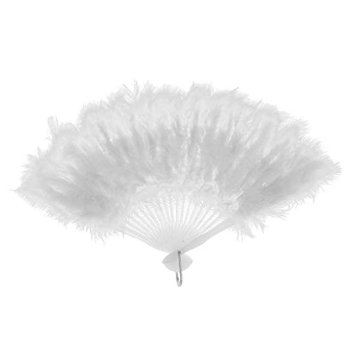 Agordo Handmade Chinese Japanese Folding Marabou Feather Hand Fan Costume Dance Fan |Color - White