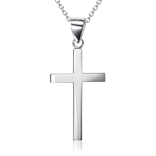 14K White Gold Plated Sterling Silver Small Cross Pendant Necklace for Men Women Girls Boys (18.0 inches) (14k White Gold Small Cross)