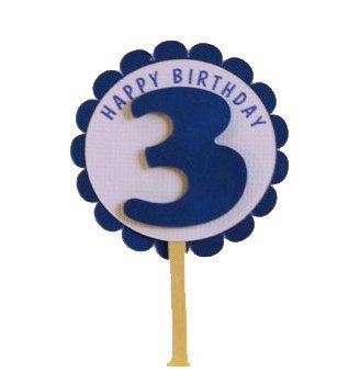 All About Details Shimmer Blue 3rd Birthday Cupcake Toppers,
