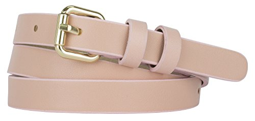Womens Goldtone Roller Buckle Faux Leather Skinny Belt (M(30.5