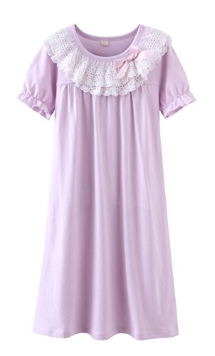 Zegoo 7 8 Years Baby Girls Lace Sleepshirts 100% Cotton Loungewear ()