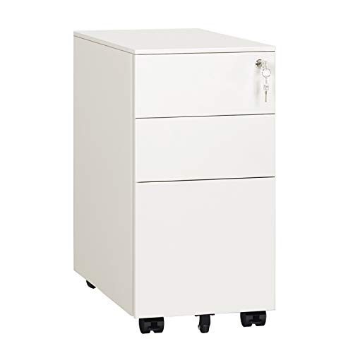 DEVAISE 3 Drawer Mobile File Cabinet with Lock, Narrow Metal Filing Cabinet for Legal/Letter/A4 Size, Fully Assembled Except Wheels, White