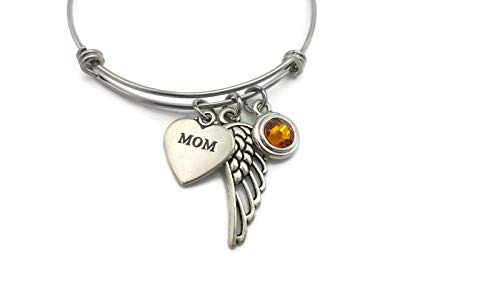 Sympathy Gift, Loss of a Mother Memorial Bracelet, Heart Charm, Angel Wing, Birthstone