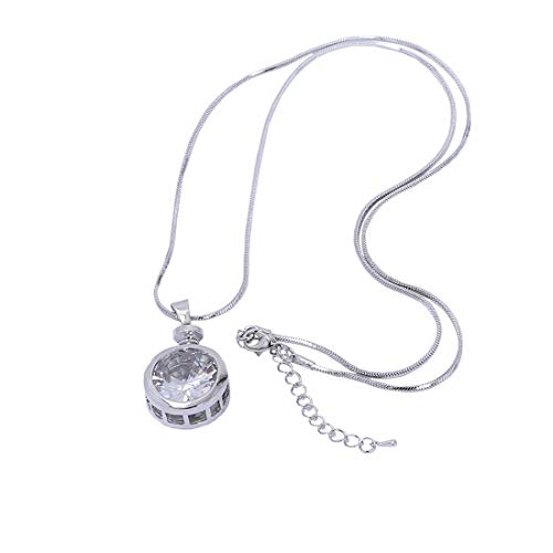 YOMEGO Long Chain Necklace Casual Bar Choker with Shining Transparent Pendant Good Gift for Women and Girls (Silver)
