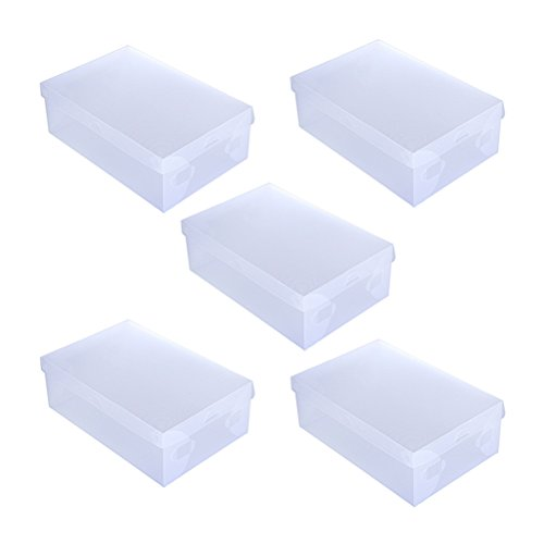 Clear Foldable Shoe Storage Boxes Plastic Stacking Closet Organization White Lid with Clear Base (5 pack) ()