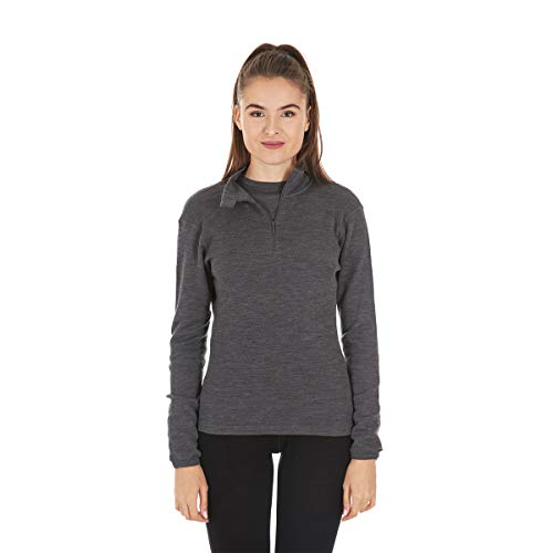 Wool 1/4 Zip Pullover - Minus33 Merino Wool Women's Sequoia Midweight 1/4 Zip, Charcoal, Medium