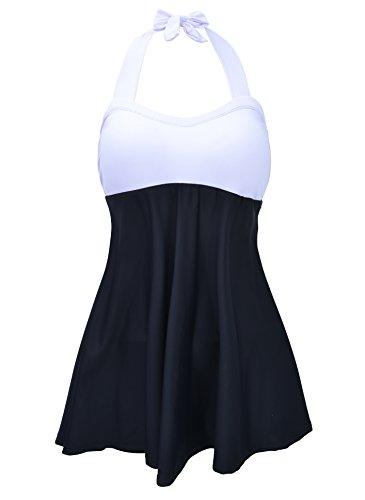 Piece Swimsuit One Top Halter (Women's Halter Neck Colorblock One Piece Skirtini High Waisted Swimsuit Tankini Top Boyshort Bottom Cover Up Swimdress White 4XL (US Size 16W-18W))