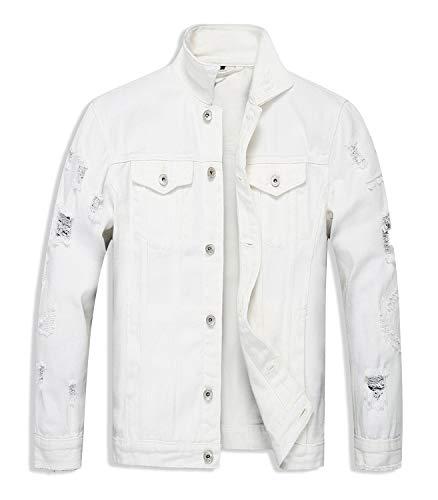 OSEING Men's Distressed Denim Jacket Ripped Jean Coat Jacket (White, ()