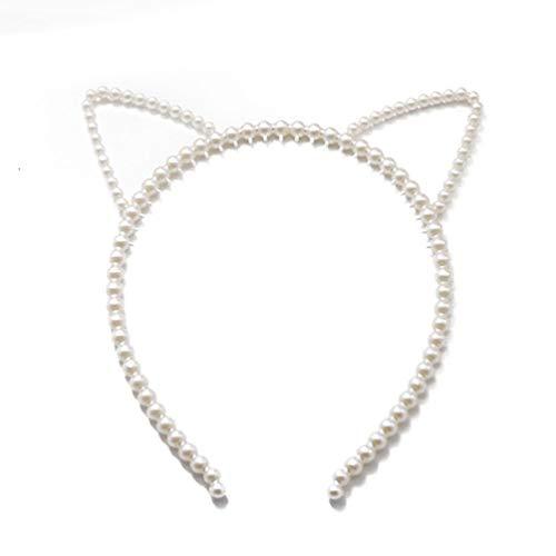 (Cat Ears Hair Hoop, with Imitation Pearl, Headband Jewelry Thin Elastic Hair Hoop Banquet Cosplay Party Hair)
