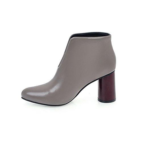 VogueZone009 Damen PU Spitz Zehe Hoher Absatz Ziehen auf Rein Stiefel Grau