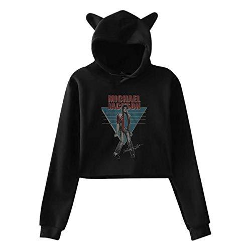 Michael Jackson Vintage Cat Ear Hoodie Sweater Long Sleeves Cat Ear Hoodie Sweater Black Gift