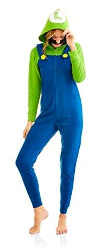 Mario And Luigi Costumes For Women (Super Mario Women's Faux Fur Licensed Sleepwear Adult Costume Union Suit Pajama (S, Luigi))