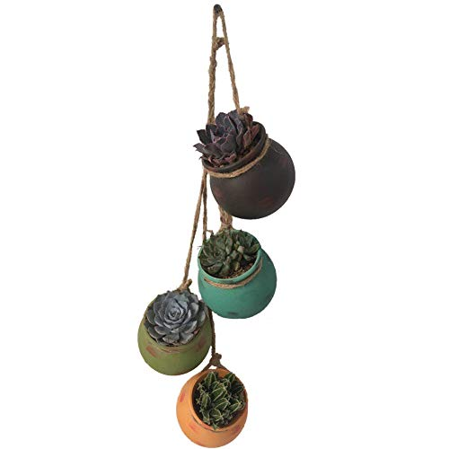 4PCS 4.0 Inch Hanging Rope Succulent Planters Dangling Ceramic Pot Wall Or Ceiling Mount Hanging Small Cactus Planter Round Flower Pots Container with Drainage Hole Herb Plant Holder - Set Ceramic Earrings