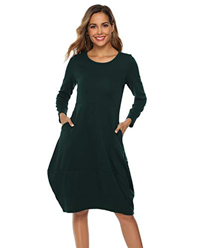 (AUDATE Women's Long Sleeve Bubble Hem Round Neck Midi Dress with Pockets Dark Green S)