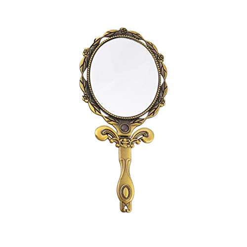 Beaupretty Espejo de Mano Ovalado Plegable Vintage con Asa Espejo de Vanidad Bolsillo Monedero Cosmetico Espejo Espejo de Mesa de Mano (Bronce)