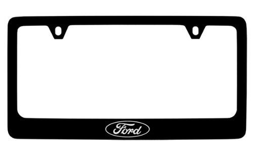 - Ford Logo License Plate Frame (2 Hole / Brass, Black / Wide)