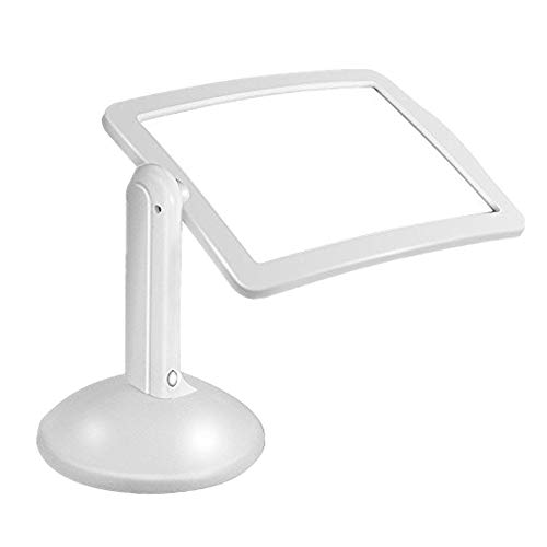 Magnifier, KKmoon Hands-Free 3X Full-Page Magnifier for Reading, Desktop Portable 360 Degrees Magnifying Loupe with Lamp Light