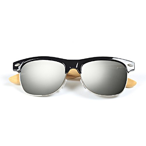 Weidan fashion bamboo foot metal half frame bamboo legs sunglasses men and women 509 (Black frame / white mercury lenses, - Anteojos Sol 2017 Mujer De Para