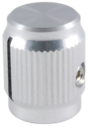 NTE Electronics 504-0006 Series DD Machined Aluminum Knob with Position Line, Gloss Finish, 0.750'' Diameter, 0.250'' Shaft Diameter, Clear