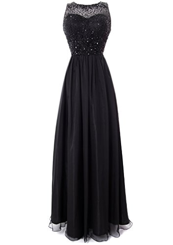 Fiesta Formals Long Chiffon Evening Gown with Gems on an Illusion Neckline - Black - - Shipping Mail Times Usps Priority