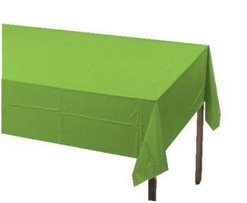 "Lime Green 2-Ply Paper/Poly Tablecloth 54"" x 108"" 6 Per Pack"