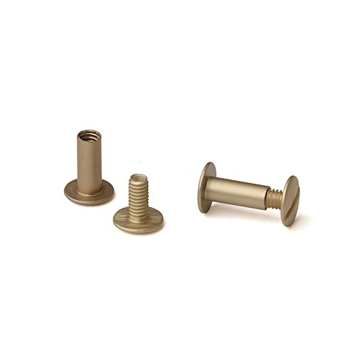 1/2 in. Antique Brass Aluminum Chicago Screws/Screw Posts (Qty 100 Sets)