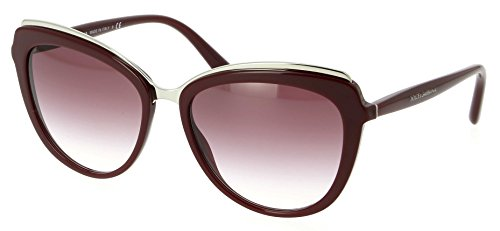 Dolce & Gabbana DG4304 Sunglasses Bordeaux Silver w/Violet Gradient Lens 57mm 30918H DG - Channel Glasses Sun