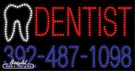 Made in USA 32 x 17 x 1 inches Dentist LED Sign